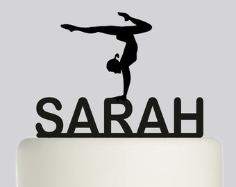Birthday Cake Topper - Gymnast Gymnastics YOUR NAME Cake Topper - Custom Cake Topper - Happy Birthday - Personalised with your Name.255