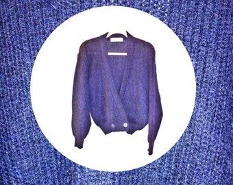 Vintage 1980s Navy Blue Mohair Cardigan