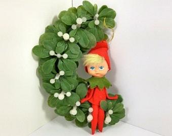Vintage Pixie Christmas Elf/ Pixie on Mistletoe/ Vintage Christmas Elf/ Retro Christmas
