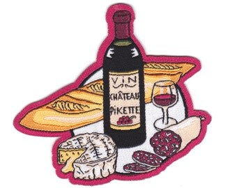 "French ""Apero"" easy iron on Patch/ Badge - wine/ camembert/ saucisson/ baguette - Unisex"