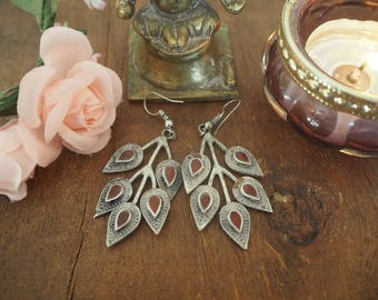 Beautiful Pair Vintage Afghan Leaf Hippie Boho Kuchi Ethnic Tribal Banjara Festival Indie Agate Earrings