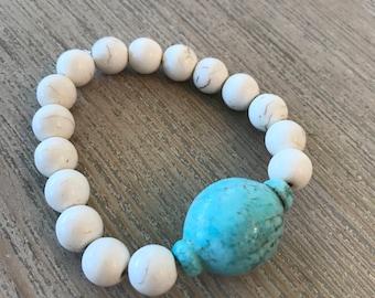 SALE-white beaded bracelet with turquoise-beachy bracelet-beach jewelry-stack bracelet