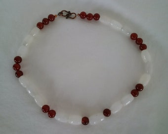 White Jade and Carnelian Necklace