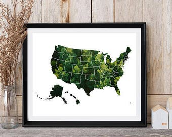 World map USA, United States world map, World map print, Forest panoramic, Map of United States, Wall decor, Green map print, Digital print
