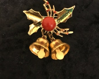 Vintage Christmas Holly with Bells Brooch