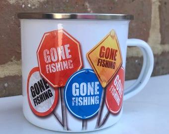 Gone Fishing Enamel Mug, Fishing Mug, Metal Mug, Camping Mug, Can be personalised, Camping gift, Outdoor Dinning
