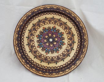 Polish Folk Art Plate - Pyrography -  Pagan - witchcraft - wicca - offerings - vintage - decorative - gift