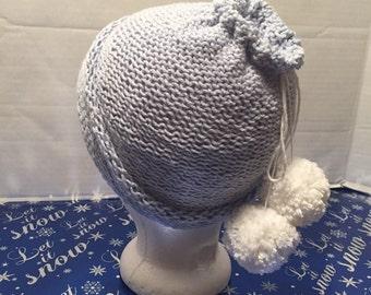 Blue knit ponytail hat