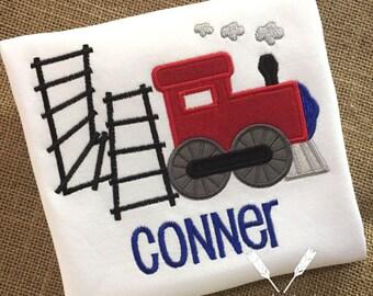 Train Birthday Shirt / Train Applique Birthday Shirt / Train Track Applique / Train First Birthday / Train Birthday / Railroad Tracks