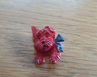 Vintage Red Dog Brooch Kitsch Chic Celluloid Piece - Czechoslovakian - Badge Brooch