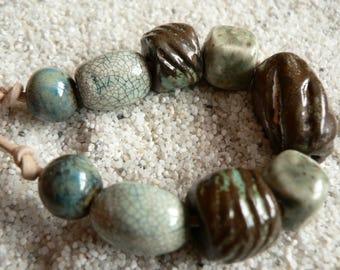 Sea Greens, Ceramic Beads, Boho Artisan Beads