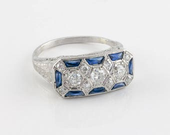 Vintage Art Deco Diamond and Sapphire Ring