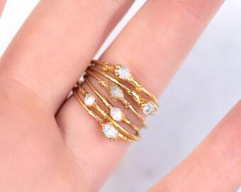 Herkimer Diamond Ring, Thin Raw Ring, Thin Rough Crystal Ring, Raw Crystal Ring, Dainty Boho Ring, Dainty Crystal Ring, Delicate Raw Ring