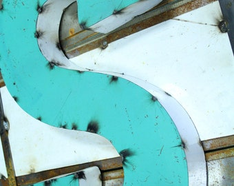"""Industrial Metal Letter S, 20"""" Recycled, Block Letter S Sign, 2-Tone Red & Teal, white sides"""