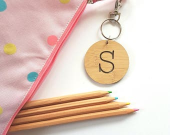 Alphabet letter bag tag / keyring-initial- wood-bamboo-school-wooden-round-kinder