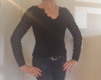 Black Lace Hand Knit Sweater