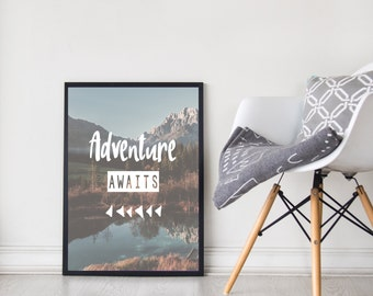 Adventure Awaits | Quote | Wall Art | Room Decor | Prints | Adventures | Inspirational Quotes