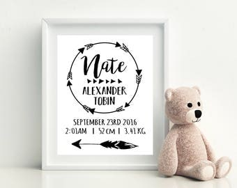 Birth Print | Personalised | Girl or Boy | Birth Announcement | Birth Details | Nursery Decor | Wall Art | Monochrome | Tribal