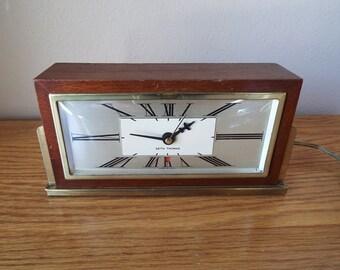 Vintage Seth Thomas Art Deco Electric Clock - Works - Mid Century Modern Wood Clock - Baxter 2E model