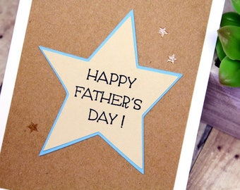 Handmade Hand Stamped Father's Day Card - Happy Fathers Day Card - Card for Dad with Stars - Hand Made Embossed Kraft & Beige Card for Dad