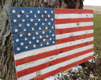 Distressed Barnwood American Flag, patriotic, vintage, art, wall decor, reclaimed wood, USA, stars and stripes, rustic, man cave, America