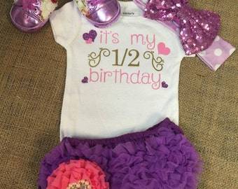 Free Shipping, Half Birthday,Onesie,Outfit,Baby,Girl,Princess,Bodysuit,Diapers Covers,Headband,Gift