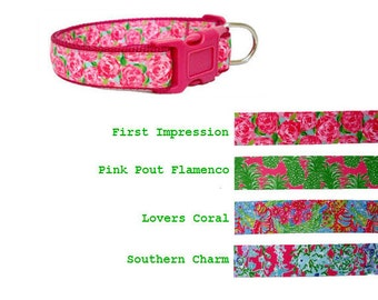 Lilly Pulitzer-inspired Dog Collar and/or Leash on Dark Pink ~ HPFI | Flamenco | Lovers Coral | Southern Charm | Sizes XXS to XL