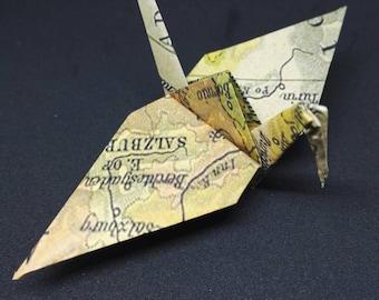 20 Origami Cranes, Vintage Europe Map