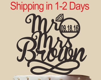 Wedding Monogram Mr and Mrs Cake Topper With Your Last (Family)Name and Wedding Date-Custom Engraved Wedding Cake Topper-Wedding Gift CT113