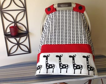 Car Seat Canopy - Baby Carrier Cover - Giraffe Red Black White - Girl - Baby Shower Gift - Newborn Infant