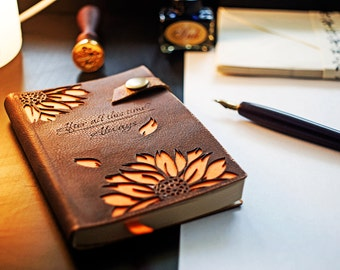 A5 A6 Harry Potter Leather notebook, Leather notepad, Leather diary, Always Severus Snape, Leather Cover Notepad, Sunflowers, Pocked Notepad