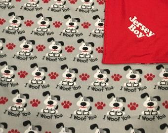Personalized Fleece dog blanket, embroidered dog blanket