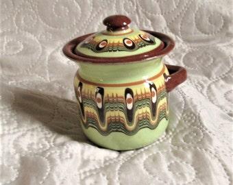 Vintage French Mustard Pot, condiment items, 60s pottery, french pottery, table items, green pottery, jam pots,