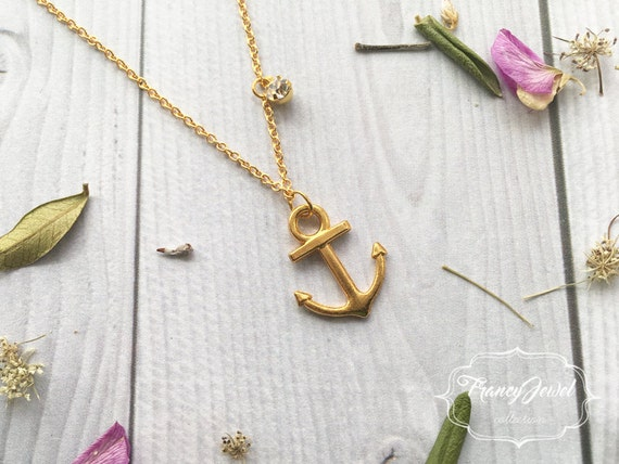 Gold anchor necklace, crystal necklace, necklace for him, rhinestone, gold necklace, elegant necklace, birthday gift, wedding gift