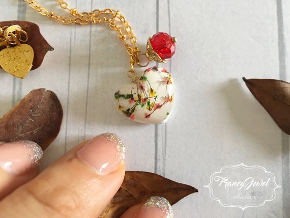 OOAK jewelry, gold necklace, heart charm, flower resin necklace, red crystal pendant, real flower jewelry, made in Italy, Christmas gift