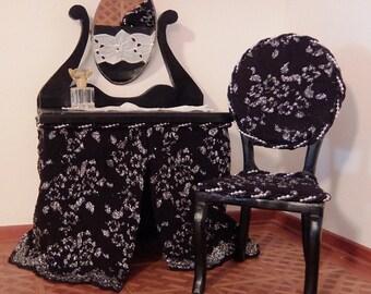 Doll vanity with chair in black. OOAK