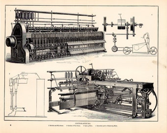Antique Cotton Spinning Lithograph - Beautiful Black and White Industry Lithograph from 1909