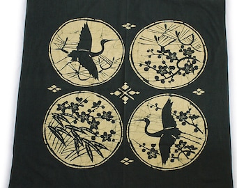 second hand furoshiki, traditional Japanese wrapping cloth, old fabric, cotton, battick dyeing, crane and plum blossom