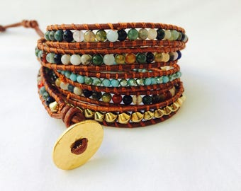 Mixed Gemstone Wrap Bracelet