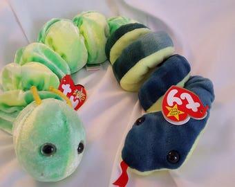 Beanie Babies: Hissy (Snake), Squirmy (Worm)