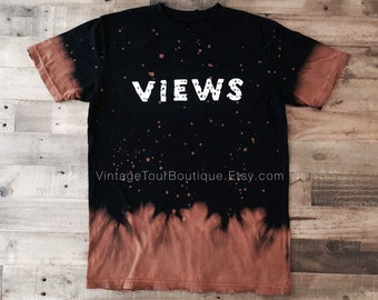 Drake Views Bleached Tee Shirt Views from the 6 Drake Concert Tee Merch OVO