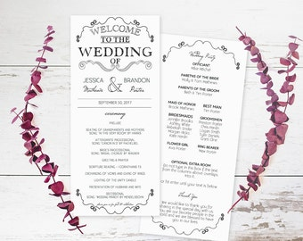 Wedding Program Format Template,  DIY Wedding Program Templates Printable, Wedding Program PDF,  DIY Wedding Program Templates Printable,