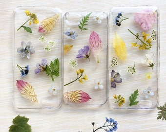 Flower iPhone case Assorted Dried flowers cover iPhone 6 s Multicolored case pressed resin floral bumper case