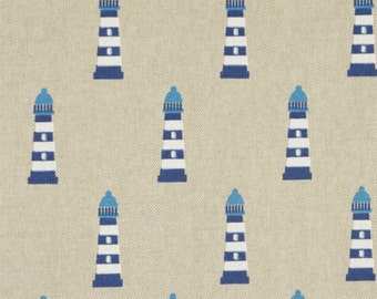 One maritime - Lighthouse ca 5cm in blue on nature - bag fabric or curtain fabric