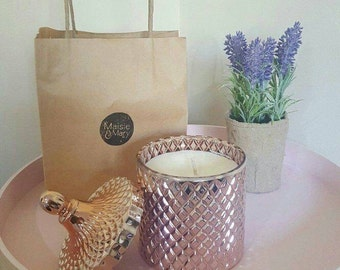 Sweet Lychee and Hyacinth Scented Maisie & Mary Copper Geo Cut Soy Candle