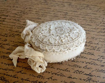 Pin Cushion Shabby Chic Oval lace pincushion vintage style Victorian pincushions