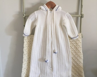 Knitted Baby Sleeping Bag with Hood
