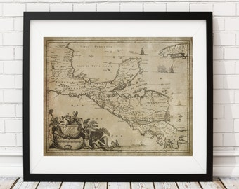 Central America Map Print, Vintage Map Art, Antique Map, Wall Art, History Gift, Yucatan, Guatemala, Honduras, Nicaragua, Costa Rica, Decor