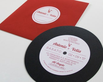 Music Wedding participation-vinyl record in cardboard + plain solid color envelope