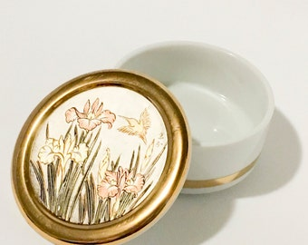 Porcelain Art of Chokin 24K Gold Edged Trinket Box Made in Japan